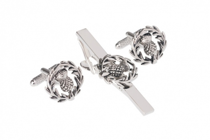 Scottish Thistle Tie Bar Clip and Cufflink Set